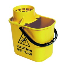 2Work Plastic Mop Bucket with Wringer 15 Litre Yellow