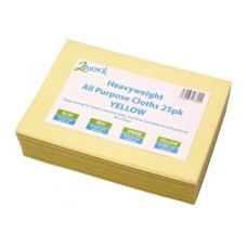 2Work Heavyweight Cloth 400x400mm Yellow (Pack of 25)