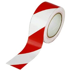 Hazard Tape White/Red Vinyl 50mmx33m (Pack of 6)