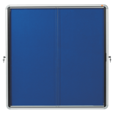Nobo Internal Glazed Case 12xA4 Blue Fabric Sliding Door