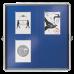 Nobo Internal Glazed Case 12xA4 Blue Fabric Sliding Door