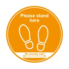 400mm Self Adhesive Floor Graphic Please Stand Here Amber