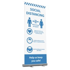 "Social Distancing Pop-up (800mm x 2000mm) ""Help Us Keep You Safe"""