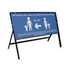 Be Socially Safe Safe 2 meter Q Sign Blue 1050x450mm