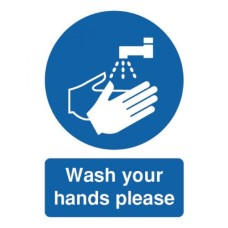 Safety Sign Wash Your Hands Please A5 Self-Adhesive